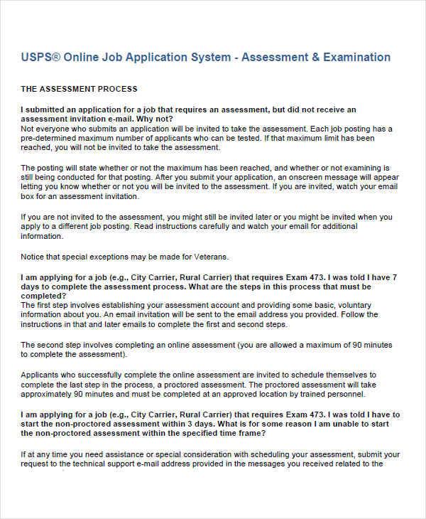 online job assessment