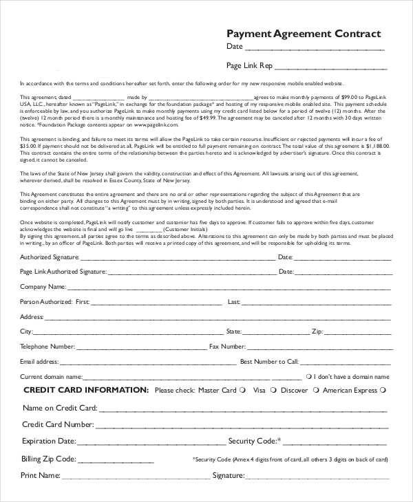 Payment Contract Template  Examples In Word Pdf