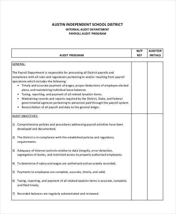 Audit Program Samples  Templates  Pdf Doc