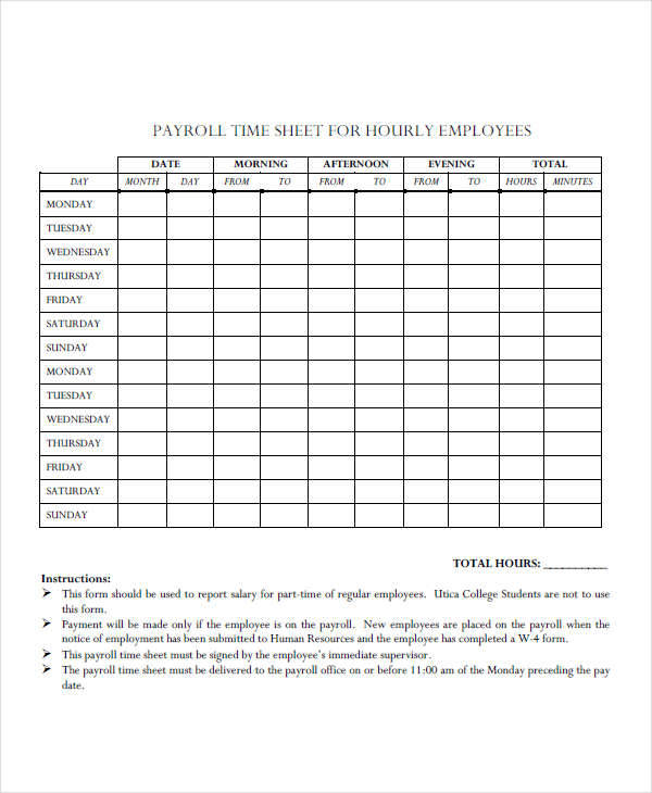 payroll timesheet for employees