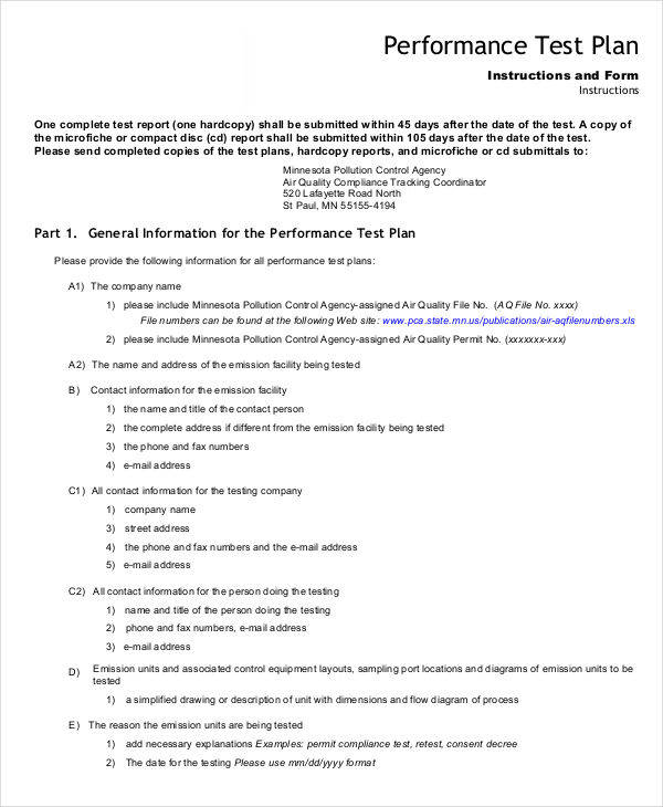 7 sample test plan templates sample templates for Performance test strategy template