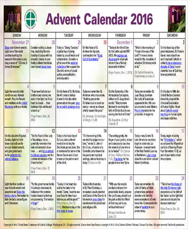 perpetual advent calendar