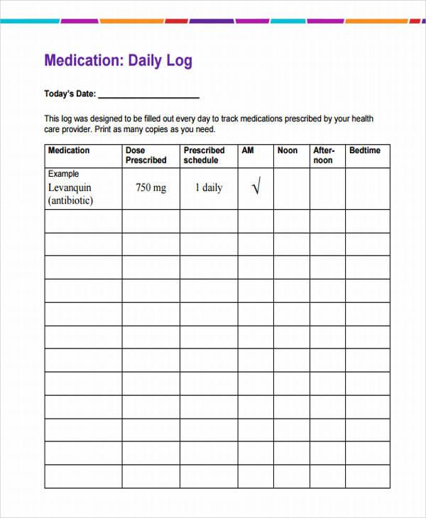 personal daily medication log