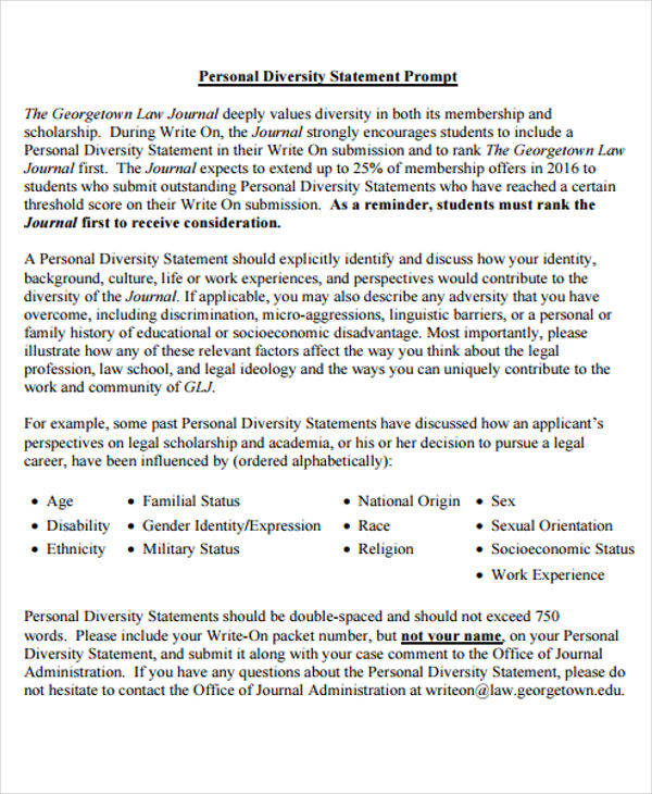 37 statement examples samples sample templates for Diversity policy template
