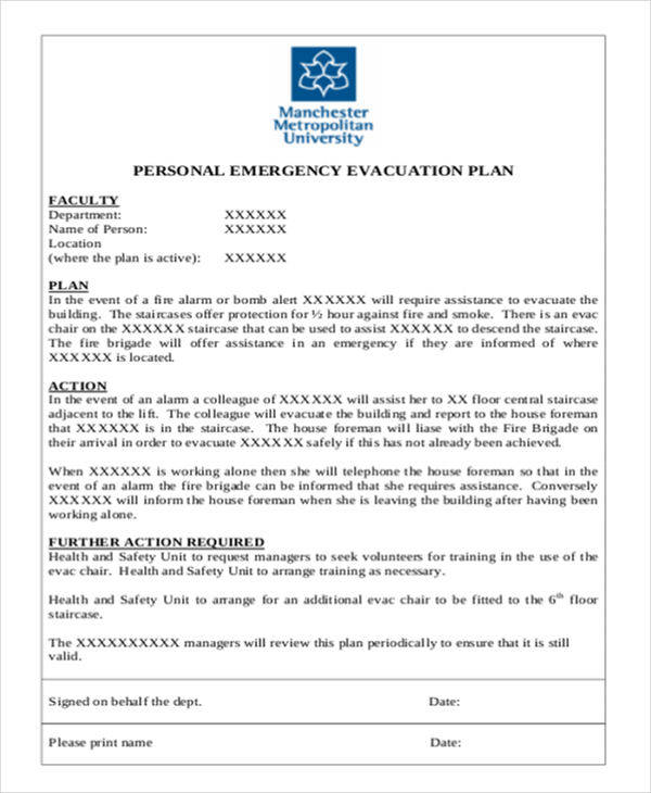 emergency evacuation plan sample