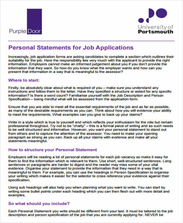 Personal statement for jobs