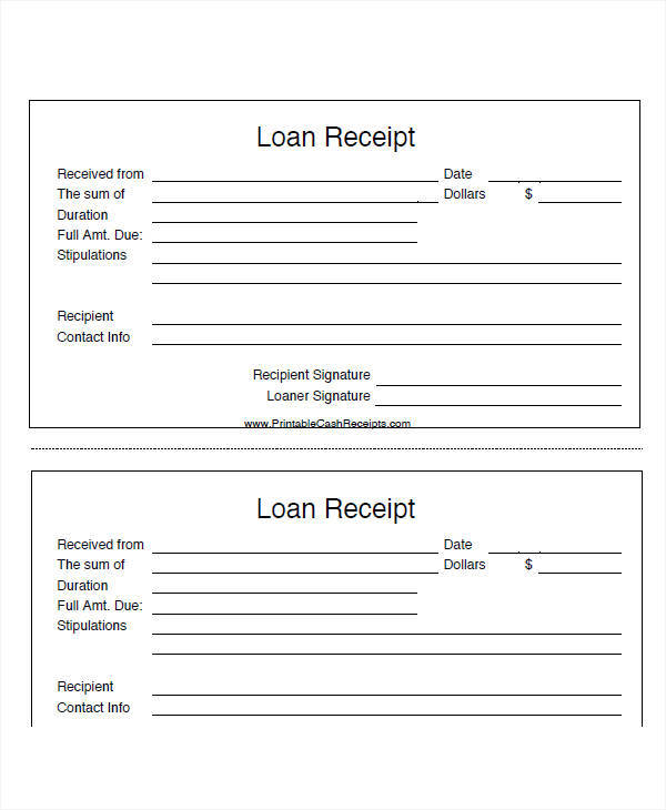 Loan Receipt Template  Examples In Word Pdf