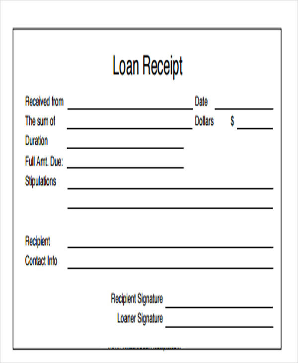8 loan receipt templates free samples examples formats