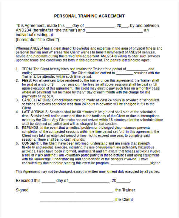 12 training contract samples templates sample templates for Personal trainer contract templates