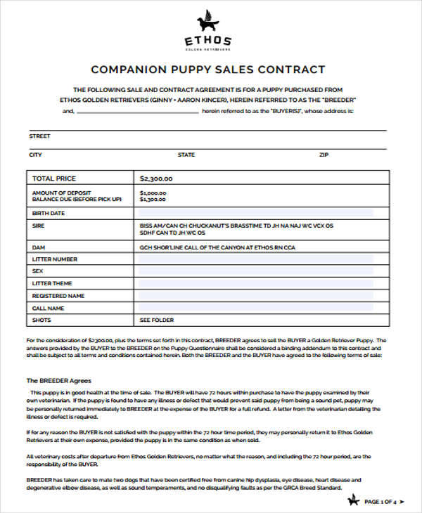 Puppy Sales Contract Samples  Templates In Pdf