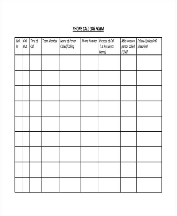 phone log form