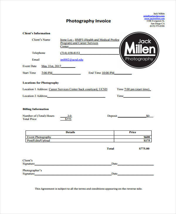 photography deposit invoice1
