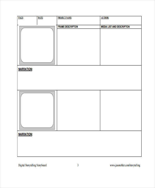 Photography Storyboard Sample  Examples In Word Pdf