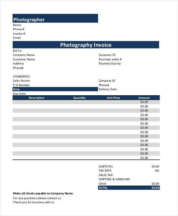 photography payment receipt