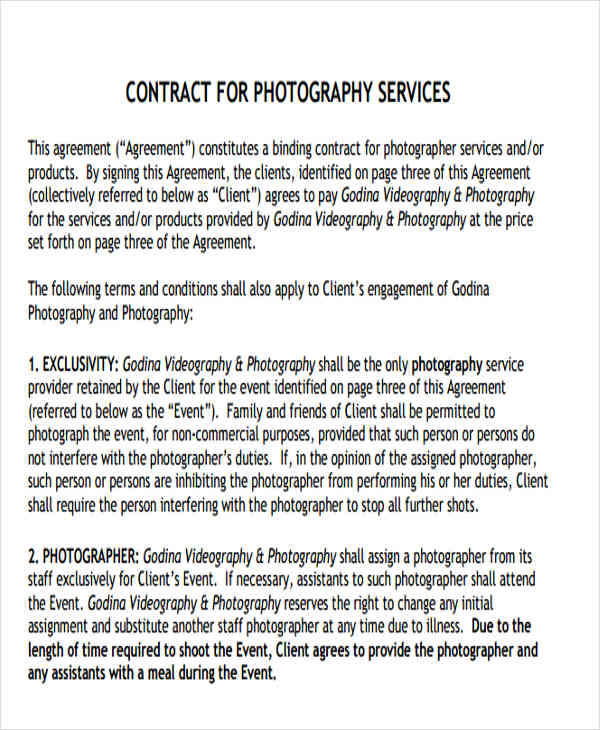 Photography Agreement Contract  Photography Contract Photography