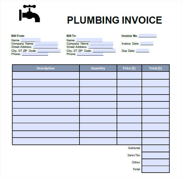 Plumbing Invoice  Free Sample Example Format Download