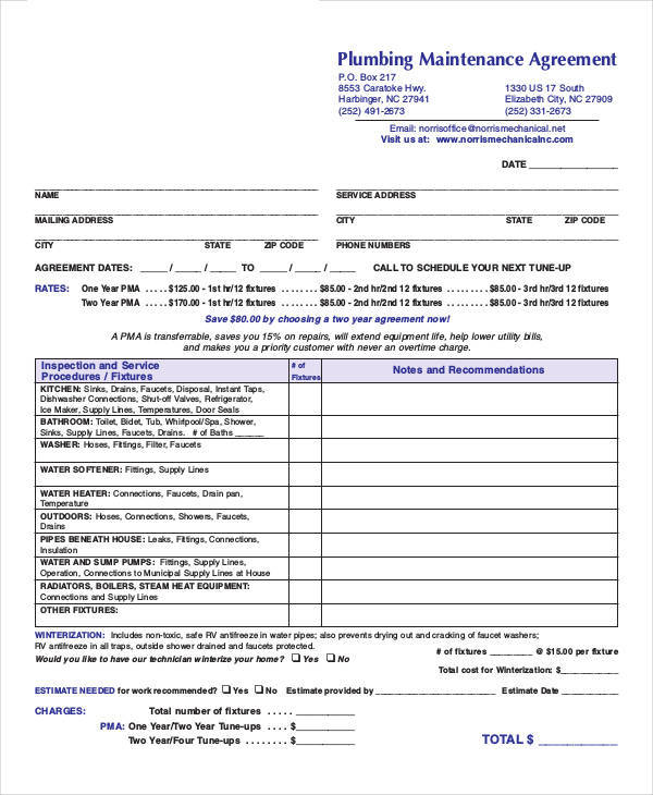 plumbing maintenance contract