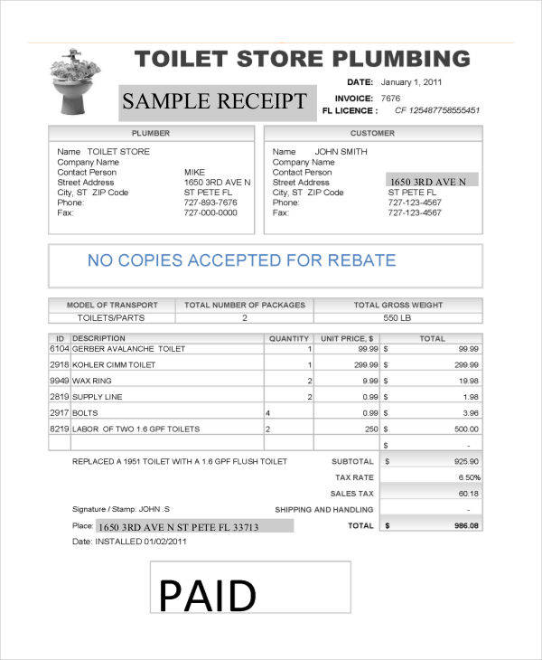 Plumbing Repair Invoice