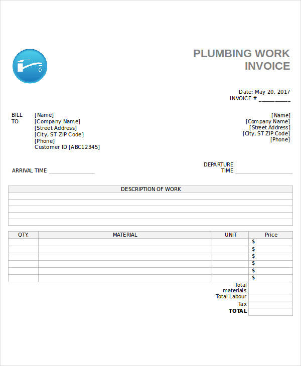 Plumbing Invoices Call Value Printing For More Details The Form
