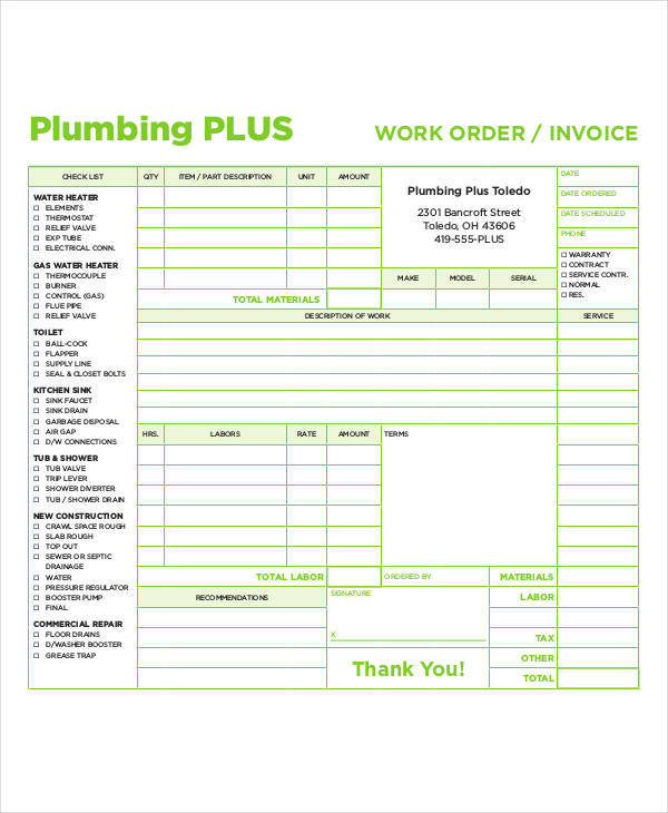 5 plumbing invoice examples in word pdf sample templates. Black Bedroom Furniture Sets. Home Design Ideas
