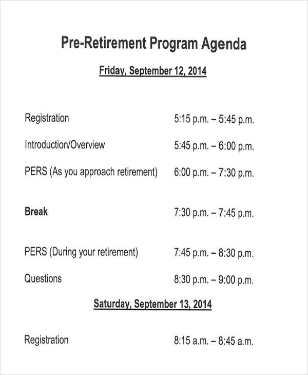 Retirement Program Samples  Templates In Pdf