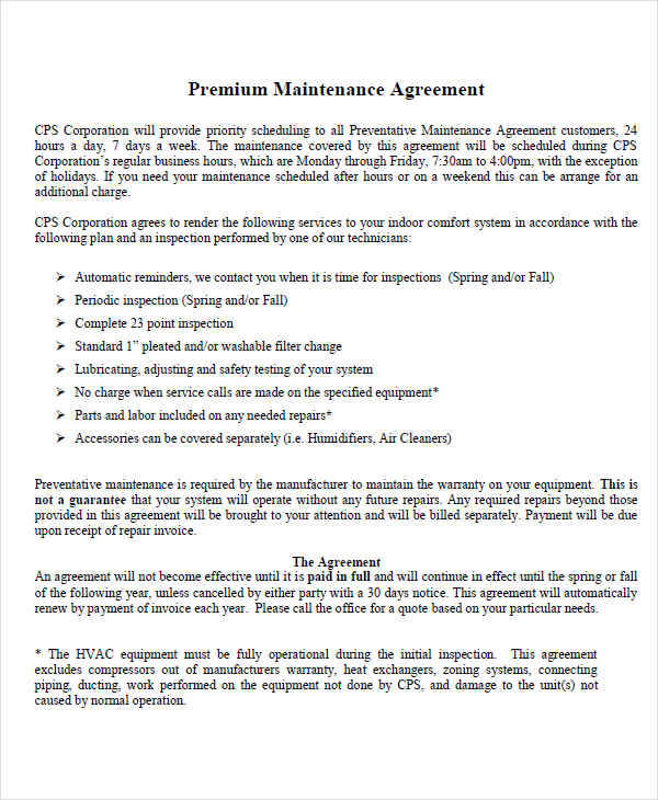 premium contract for maintenance