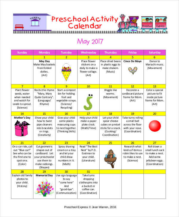 Sample Preschool Calendar Seasons Preschool Lesson Plan Free Pdf