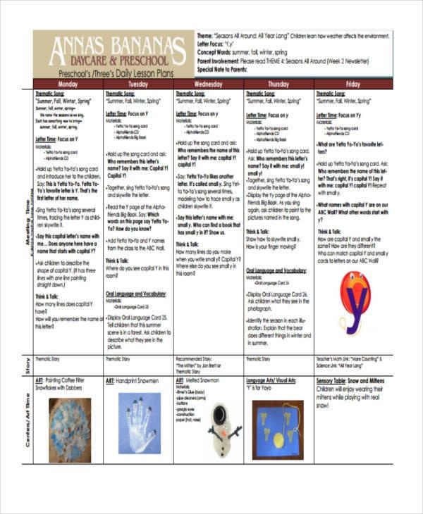 preschool daily plan