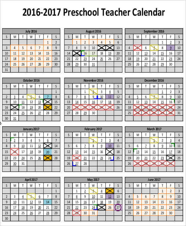 Teacher Calendar Templates  Free Sample Example Format Download