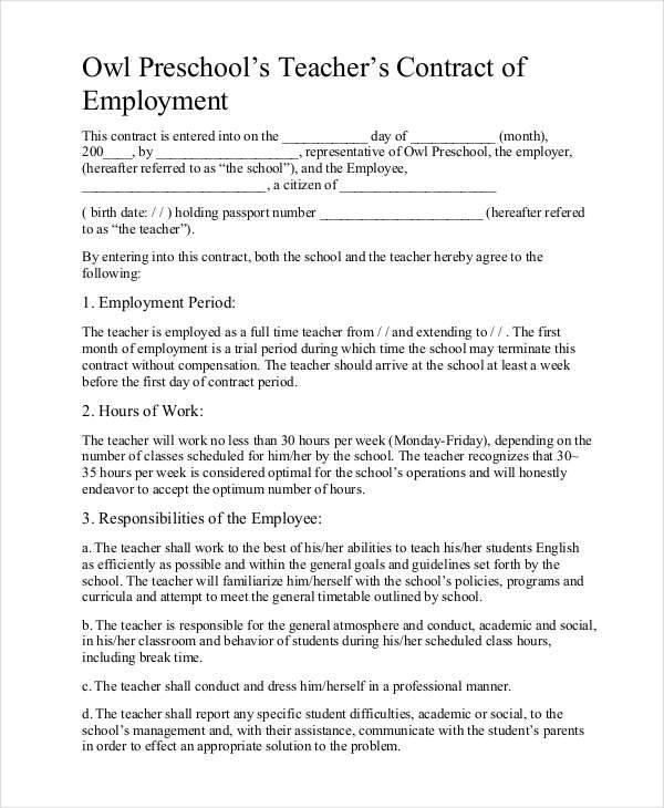 preschool teacher contract