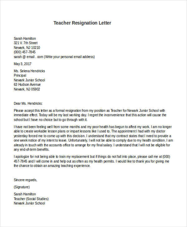 preschool teacher resignation
