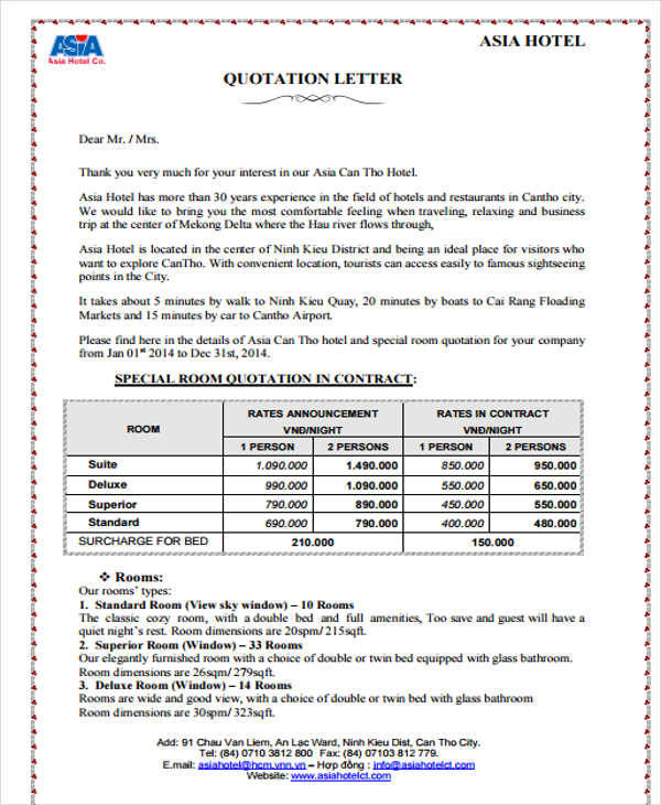 price quotation letter