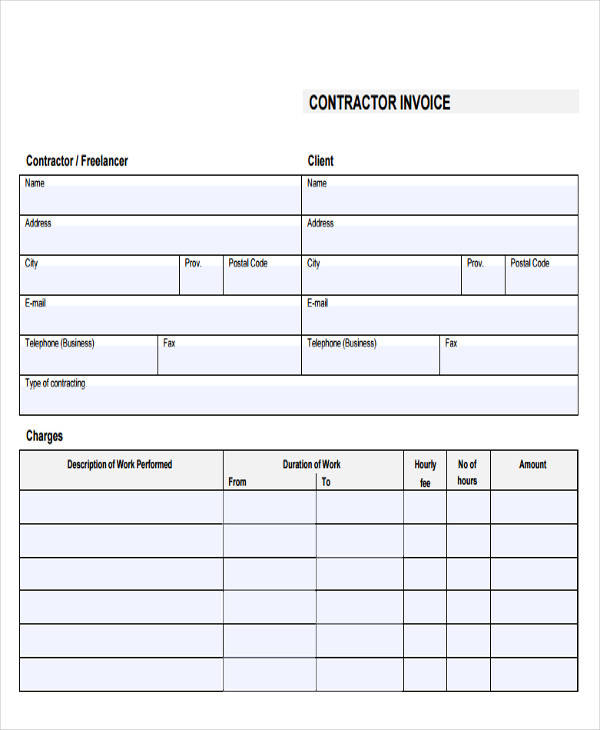 Sample Contractor Invoice Invoice Receipt Sample Cleaning Service