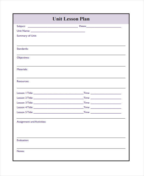 printable blank lesson plan