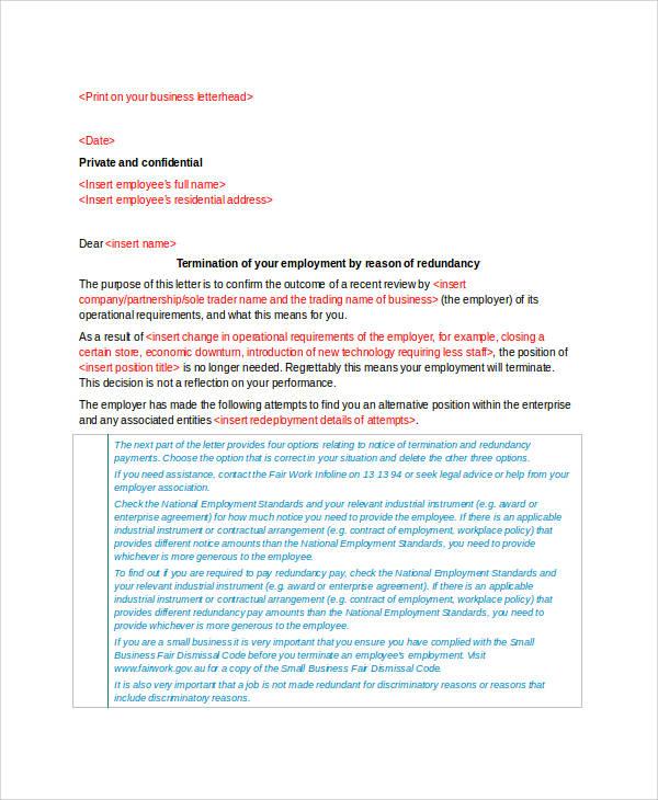 printable employment redundancy terminate letter