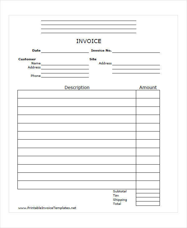 printable job invoice