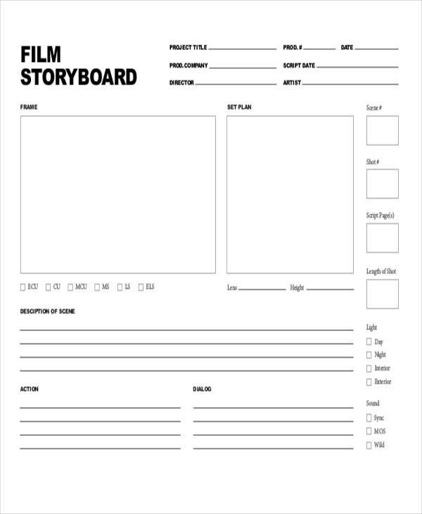 printable movie storyboard