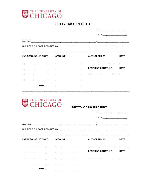 printable petty cash receipt