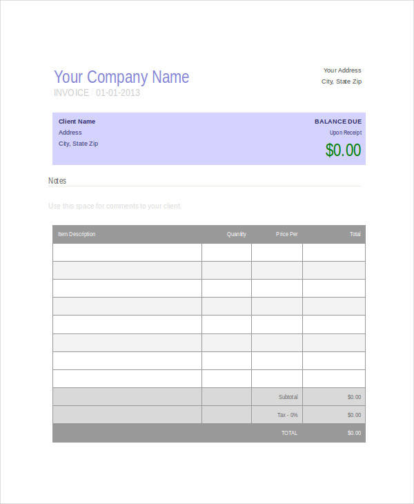 printable purchase invoice