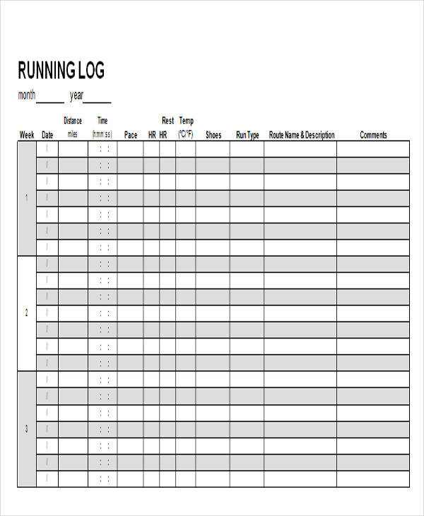 photograph regarding Printable Running Log named 38 Log Templates in just Phrase