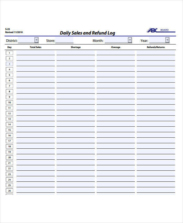 printable sales log