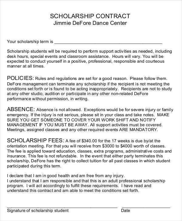 printable scholarship contract
