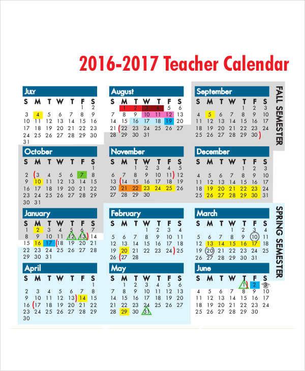 printable teacher calendar