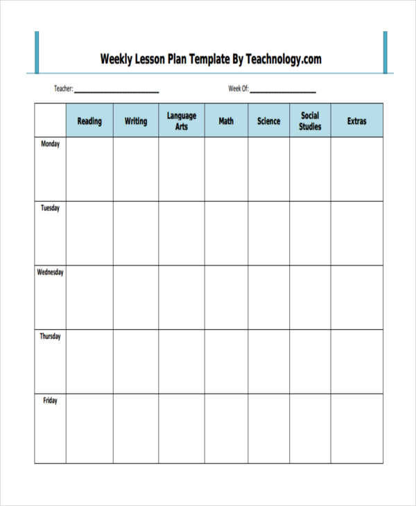 printable weekly lesson plan