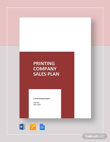 printing company sales plan template