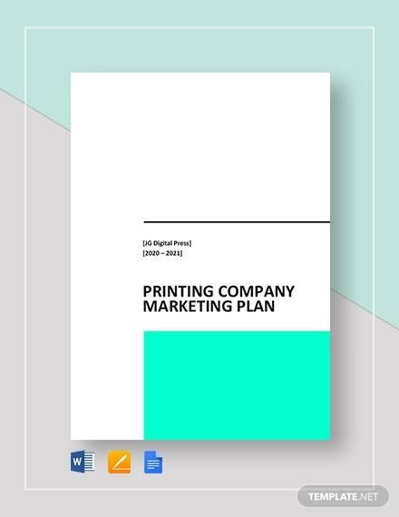 printing company marketing plan template