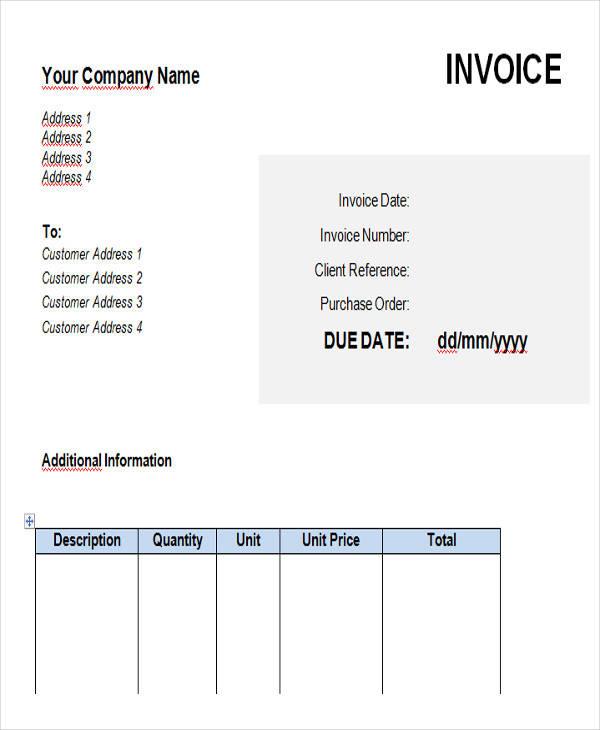 private contractor invoice