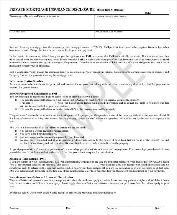 private mortgage contract