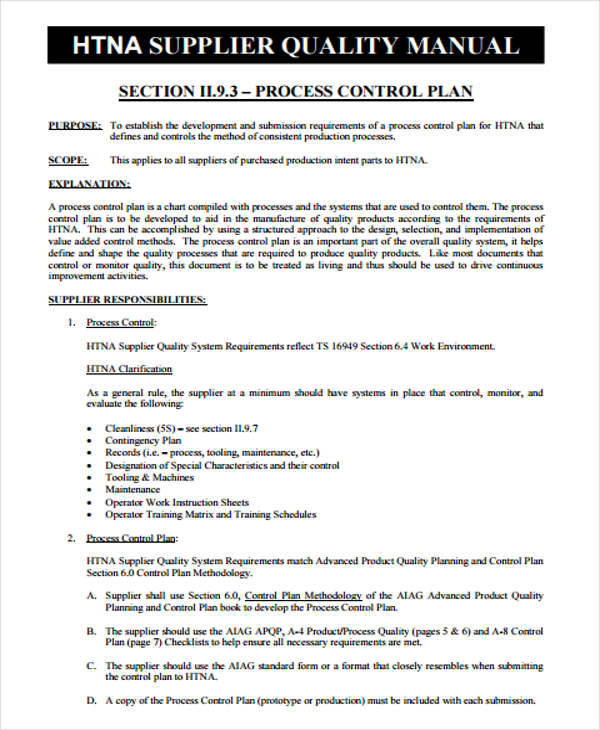 Control Plan Templates  Examples In Word Pdf
