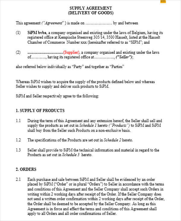 11 Supply Contract Samples Amp Templates Pdf Doc